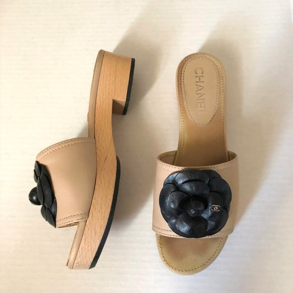 Chanel beige black wooden sole Camelia Bay sandals
